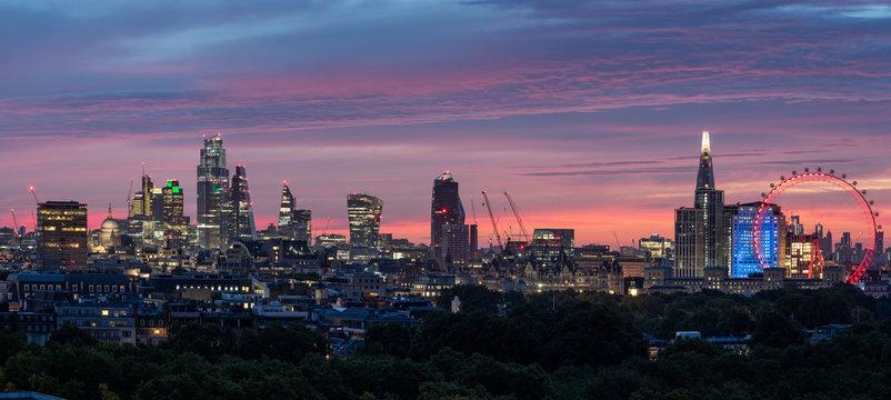 London City skyline Sunrise aerial View