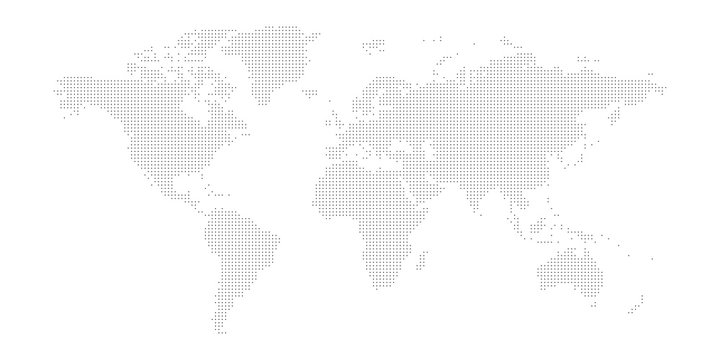 Dotted map of World. Small black dots on white background
