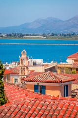 Panoramic view on beautiful city Nafplio, Greece