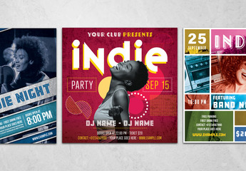 Indie Flyer Layouts with Colorful Accents