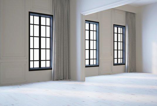 Large luxury modern bright interior room 3d illustration
