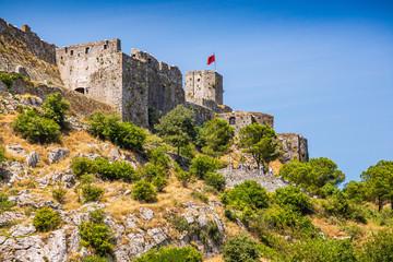 Rozafa Castle rises imposingly on rocky hill in Shkoder city, Albania
