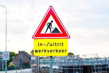 Dutch road sign road works ahead