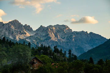Mountains and peaks in National Park Valbona in Albania, Europe