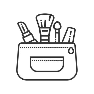 Cosmetics bag color line icon. Beauty industry. Professional facial make up. Pictogram for web page, mobile app, promo. UI UX GUI design element.