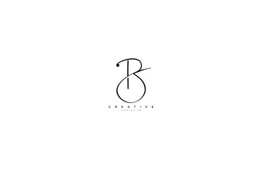 Initial Letter B Logo Manual Black Elegant Minimalist Signature Logo Wall mural