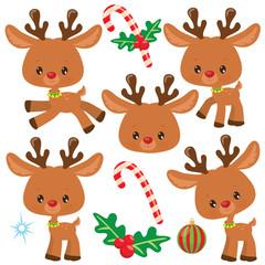 Christmas reindeer vector cartoon illustration