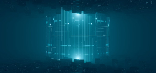 3D Rendering of abstract cube data geometry with glowing dots and lines from both and bottom side. Concept of inside binary world. Big data, deep machine learning, computer core processing. Crypto. Wall mural
