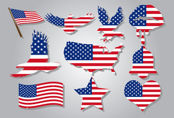 american flag  vector set graphic clipart design