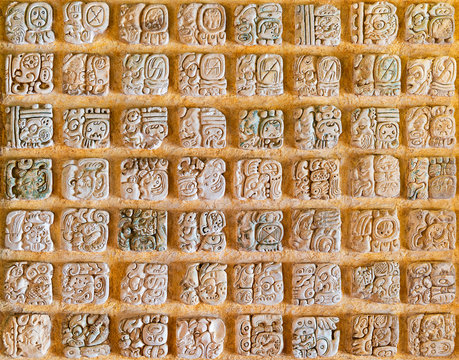 Tha Mayan Alphabet. Examples of this hieroglyphic writing system can be found in Copan (Honduras), Tikal (Guatemala) and Chichen Itza, Palenque, Uxmal (Mexico).