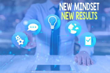 Conceptual hand writing showing New Mindset New Results. Concept meaning obstacles are opportunities to reach achievement Female human wear formal work suit presenting smart device