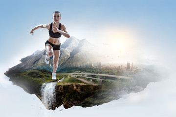 Abstract concept of running young sportswoman