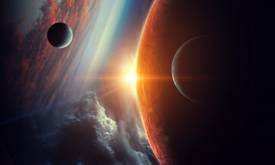 Fototapete - Abstract planets on space texture