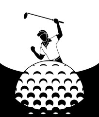 A picture of a golfer being happy to hit the ball into the hole and get points.