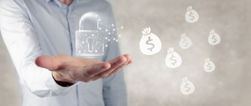 money and padlock concepts safe property security