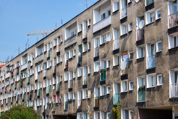 Shabby apartment building seen in Wroclaw, Poland