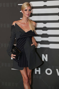 Nicky Hilton poses on the red carpet of Rihanna's new Savage X Fenty collection show for New York Fashion Week at the Barclays Center in the Brooklyn