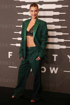 Model Bella Hadid poses on the red carpet of Rihanna's new Savage X Fenty collection show for New York Fashion Week at the Barclays Center in the Brooklyn borough of New York