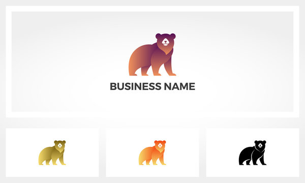Simple Stylized Image Of A Bear Logo