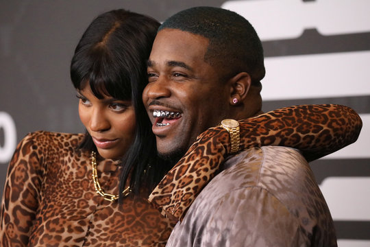 A$AP Ferg poses with Renell Medrano on the red carpet of Rihanna's new Savage X Fenty collection show for New York Fashion Week at the Barclays Center in the Brooklyn borough of New York