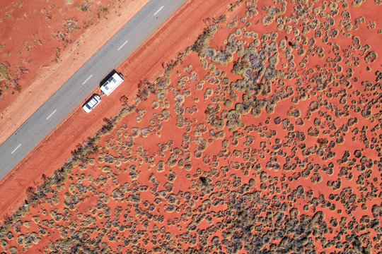 Aerial view of Central Australia travelers