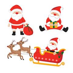 Set of santa claus character illustration for Christmas.