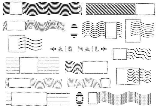 Rectangular vintage Blank stamp and element postal stamps set.illustration vector