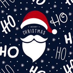 Ho ho ho Santa Claus laugh hat and beard seamless texture pattern blue background