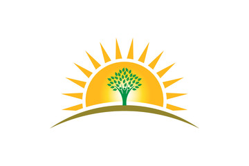 People Tree of Life in sunshine logo. Family of three persons tree strong