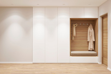 3d illustration. Entrance hall in the apartment with wardrobe. Front view