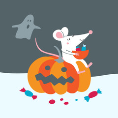 Vector illustration of cute rat sit on pumpkin celebrate Halloween with ghost