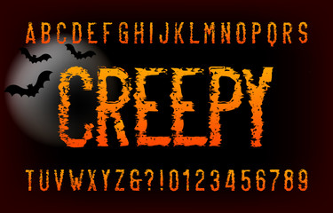 Creepy alphabet font. Messy letters and number. Vector typography for your headers or any typography design.