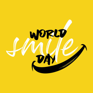Happy world smile day banner vector illustration greeting design on yellow background creative concept lettering typography.