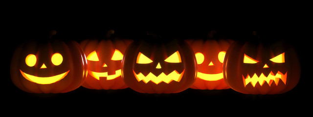 Many Halloween Pumpkin glowing faces in a row. 3D Rendering illustration
