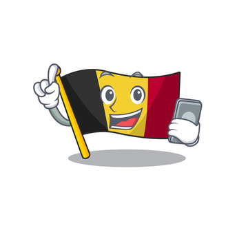 With phone flag belgium character shaped the mascot
