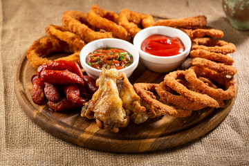 Deep fried snack for beer, fast food
