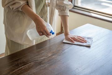 掃除をする女性の手元 Fototapete