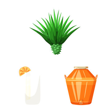 Isolated object of Mexico and tequila sign. Collection of Mexico and fiesta stock symbol for web.
