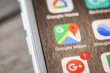 Close up to Google Maps app on iPhone 7 screen, shot in BERLIN, GERMANY - JUNE 6, 2018