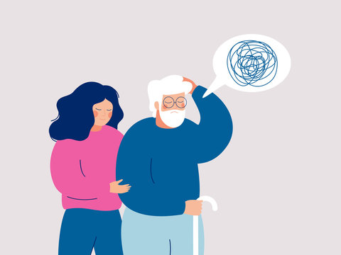 Young female volunteer is caring for an elderly person with dementia.  Senior person leans on a cane, and a young social worker supports and helps him. Flat style vector illustration