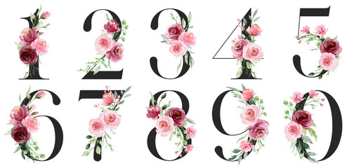 Numbers with watercolor flowers roses and leaf. Perfectly for wedding invitation, greeting card, logo, poster and other floral design. Hand painting. Isolated on white background.