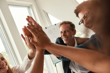 We are the best team Business people giving each other high-five and smiling while working together in the modern office