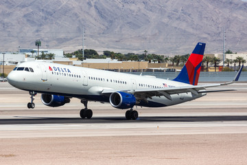 Delta Air Lines Airbus A321 airplane Las Vegas airport