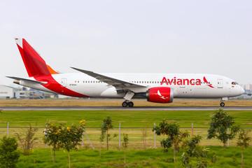 Avianca Boeing 787 Dreamliner airplane Bogota airport