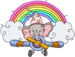 Little elephant flying on airplane with rainbow and clouds