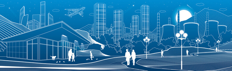 Outline industry and city illustration panorama. Evening town urban scene. People walking at garden. Night shop. Power Plant in mountains. White lines on blue background. Vector design art