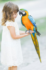Making photo of exotic animals. Little girl with macaw parrot