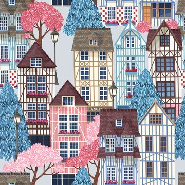 Old town with trees vector seamless pattern