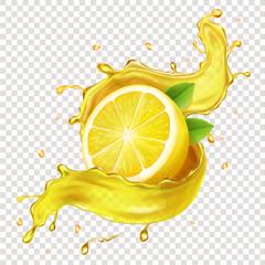Half of a lemon, juicy slice of fruit in realistic juice splash 3d illustration