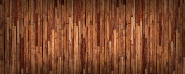 Small pieces of pine Arranged together into a beautiful wooden wall For interior decoration of buildings or floors and web backgrounds,Old wood wall texture , wooden background